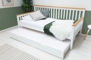 Blythe White & Oak Effect Wooden Day Bed with Trundle Bed - Single 3ft
