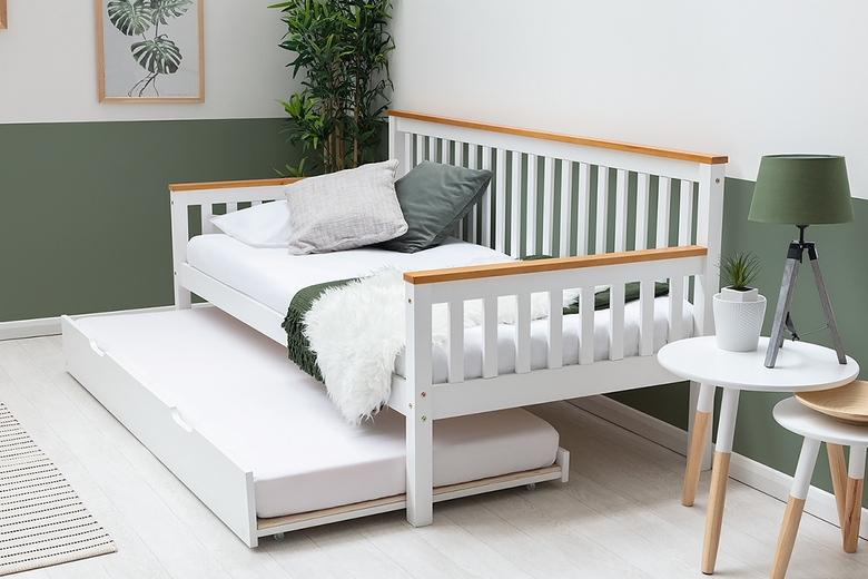 Blythe White & Oak Effect Trim Wooden Day Bed with Guest Trundle Bed Single 3ft