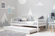 Blythe Farmhouse Style White Wooden Day Bed with Guest Trundle Bed Single 3ft