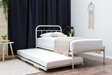 Bourton White Single Metal Bed Frame with Guest Bed Trundle