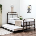 Burford Antique Victorian Style Metal Guest Bed with Trundle Single 3ft