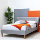 Chatwell Winged Headboard Grey Fabric Double Bed Frame 4ft6