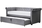 Clarendon Grey Velvet Chesterfield Sofa Bed / Day Bed with Trundle Single Size 3ft