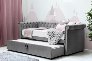 Clarendon Grey Velvet Chesterfield Style Day Bed with Trundle Single Size 3ft