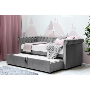 Clarendon Grey Velvet Chesterfield Style Sofa Bed with Guest Bed Single Size 3ft