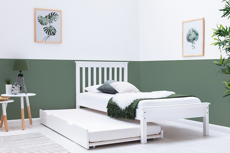 Disley White Wooden Bed Frame with Guest Trundle Bed Single 3ft