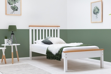 Disley Oak Trim White Wooden Bed Frame Single Size 3ft