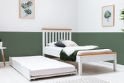 Disley Oak Trim White Wooden Bed Frame with Trundle Bed Single 3ft