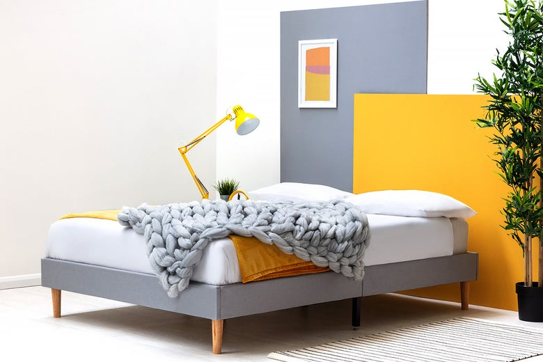 Edworth Grey Fabric Low Platform Double Bed Frame 4ft6