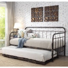 Harlow Brushed Copper Antique Style Metal Day Bed with Guest Bed Trundle - Single Size 3ft