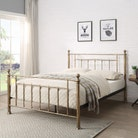 Harpenden Brushed Gold Metal Bed Frame - Small Double / Double / King Size