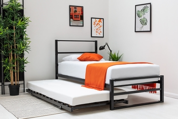 Hartfield Black Single Metal Bed Frame with Guest Bed Trundle
