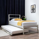 Hartfield White Single Metal Bed Frame with Guest Bed Trundle Single 3ft