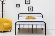 Henley Victorian Hospital Style Black Metal Bed Frame - Single / Small Double / Double / King Size