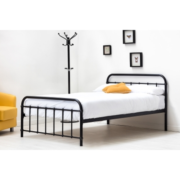 Henley Victorian Hospital Style Black Metal Bed Frame - Single / Double / King Size