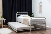 Henley White Single Metal Bed Frame with Guest Bed Trundle