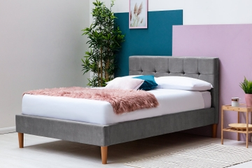 Highclere Modern Grey Velvet Bed Frame - Double / King Sizes