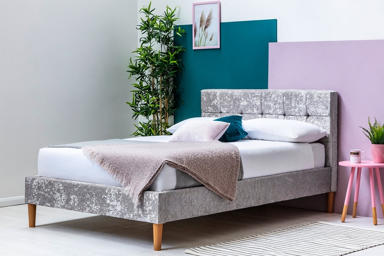 Highclere Silver Crushed Velvet Bed Frame - Double/King Sizes