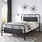 Keston Industrial Style Black Metal Bed Frame Double / King Size