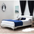 Knightsbrook Scroll Headboard White Faux Leather Bed Frame - Double / King Size