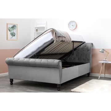 Lambeth Grey Velvet Sleigh Ottoman Bed Frame - Double / King Size