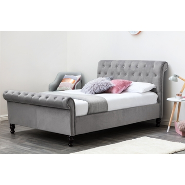 Lambeth Grey Velvet Upholstered Chesterfield Sleigh Bed Frame - Double / King Size