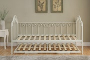 Lilly Vintage Style Single White Metal Day Bed Frame With Guest Trundle Bed 3ft