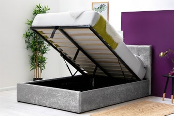 Lowther Crushed Silver Velvet Storage Ottoman Bed Frame Single / Double / King