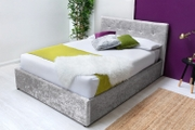 Lowther Silver Crushed Velvet Ottoman Storage Double Bed Frame 4ft6