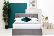 Lowther Grey Velvet Storage Ottoman Bed King Size 5ft