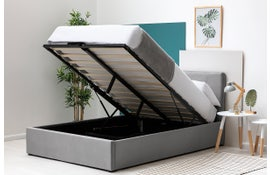 Lowther Grey Velvet Ottoman Storage Bed - Single / Double / King