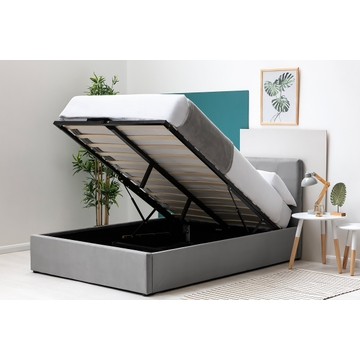 Lowther Grey Velvet Storage Ottoman Bed Frame Single / Double / King