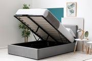 Lowther Grey Velvet Ottoman Storage Bed Double 4ft6