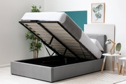 Lowther Grey Velvet Storage Ottoman Bed Double 4ft6