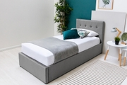 Lowther Grey Velvet Storage Ottoman Bed Frame - Single / Double / King