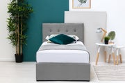 Lowther Grey Velvet Ottoman Storage Bed Single 3ft