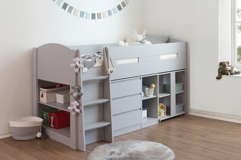 Morgan Grey Kids Mid Sleeper Cabin Bed with Desk and Storage – Single 3ft