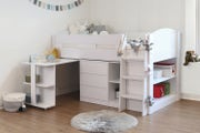 Morgan White Kids Mid Sleeper Cabin Bed with Desk and Storage – Single 3ft