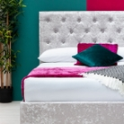 Parwich Silver Crushed Velvet Storage Ottoman Bed King Size 5ft