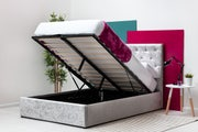 Parwich Silver Crushed Velvet Storage Ottoman Bed Double 4ft6