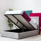 Parwich Silver Crushed Velvet Storage Ottoman Bed Frame - Double/King Sizes