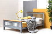 Pickmere Farmhouse Grey Wooden Bed Frame - Double 4ft6