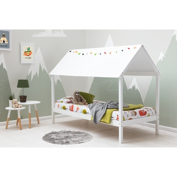Robin Kids White Wooden Canopy House Bed with Roof Single 3ft