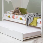 Robin Kids White Wooden House Bed With Roof & Trundle Bed - Single Size 3ft