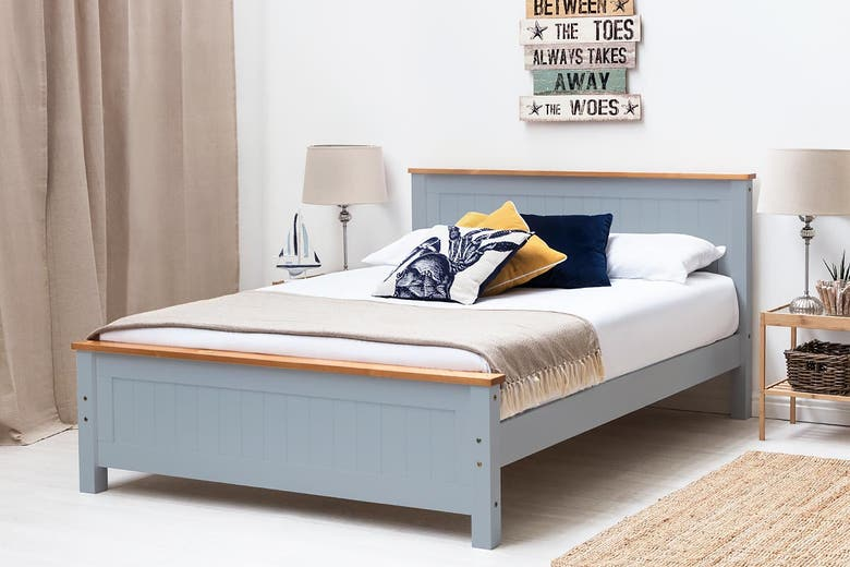 grey wooden bed frame with oak effect trim double bed