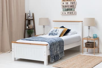 Rostherne Farmhouse White Solid Wooden Panel Single Size Bed Frame