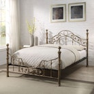 Salcombe Antique Style Brushed Gold Metal Bed Frame - Double / King Size