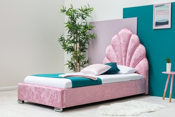 Shelly Pink Crushed Velvet Bed Frame with Scalloped Headboard Single Size 3ft
