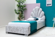 Shelly Silver Crushed Velvet Bed Frame with Scalloped Headboard Single Size 3ft