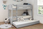 Skylar Kids Grey Wooden Bunk Bed with Extra Pull Out Bed - Single 3ft